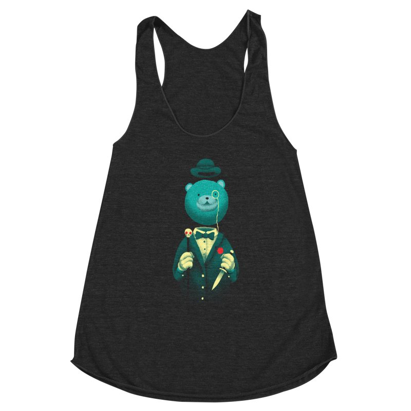 Bad Mr Bear Women's Racerback Triblend Tank by David Maclennan