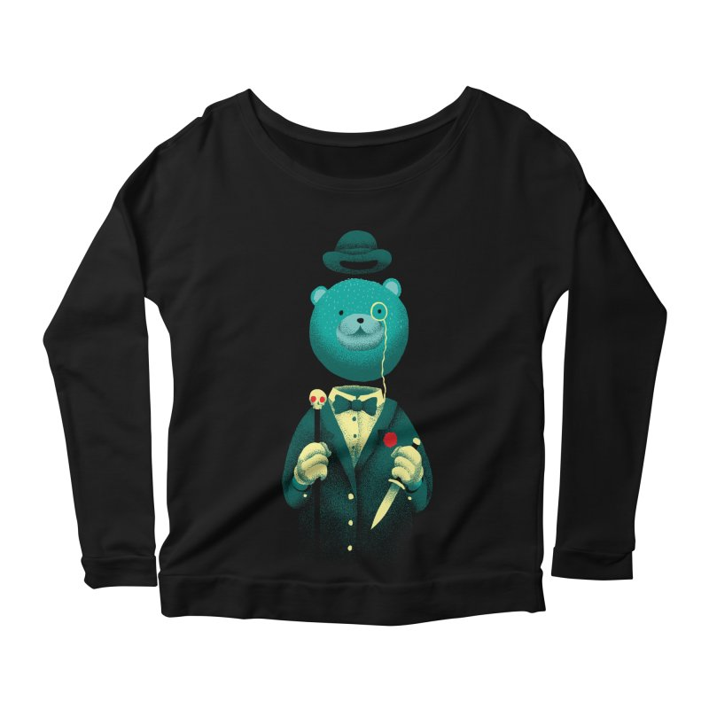 Bad Mr Bear Women's Scoop Neck Longsleeve T-Shirt by David Maclennan