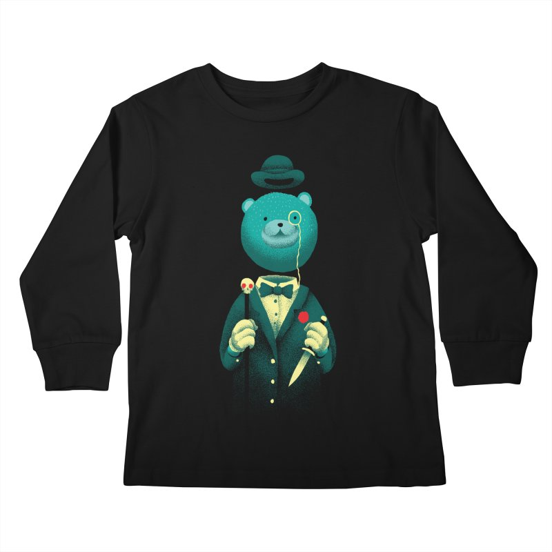 Bad Mr Bear Kids Longsleeve T-Shirt by David Maclennan