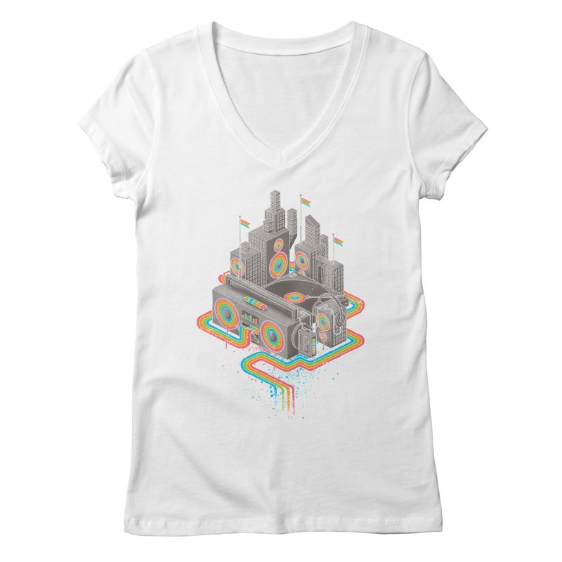 Funk City Women's Regular V-Neck by David Maclennan