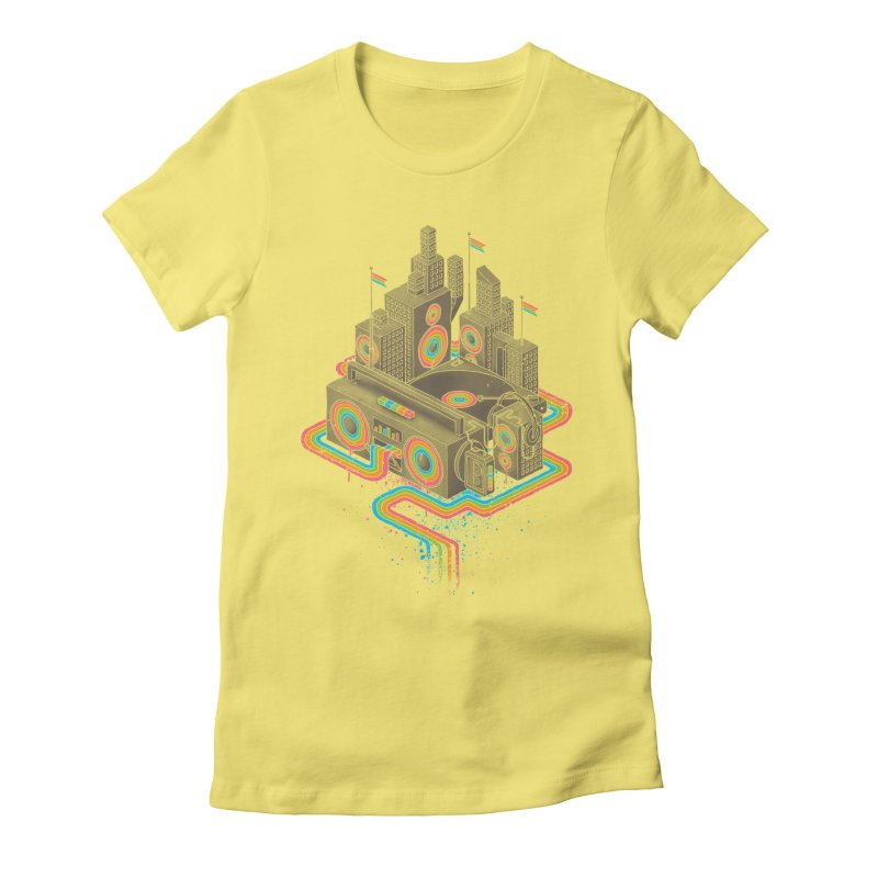 Funk City Women's Fitted T-Shirt by David Maclennan