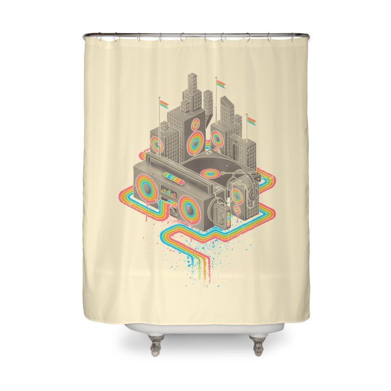 Funk City Home Shower Curtain by David Maclennan