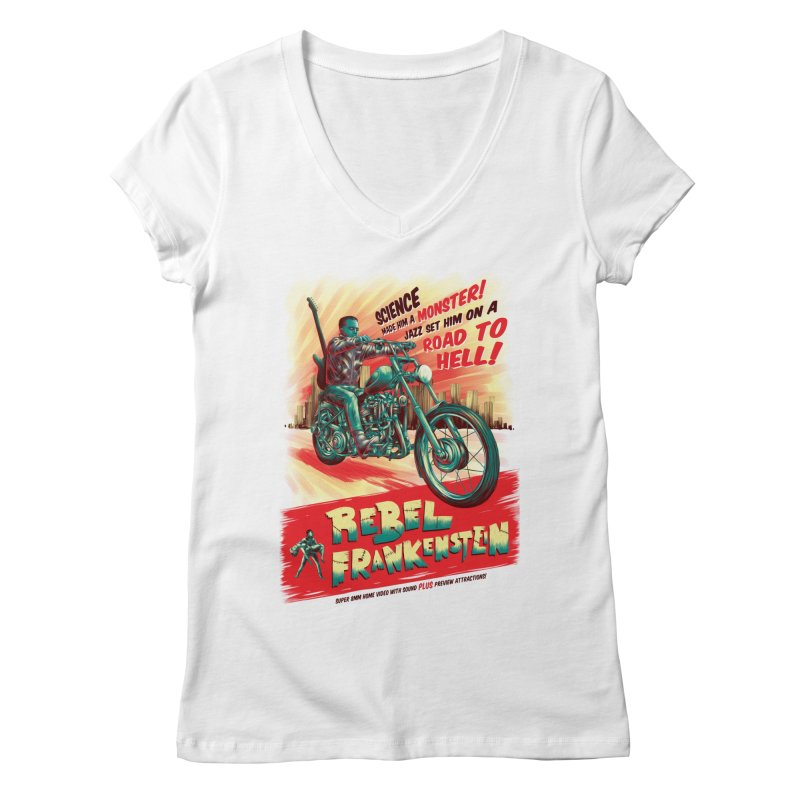 Rebel Frankenstein Women's V-Neck by David Maclennan