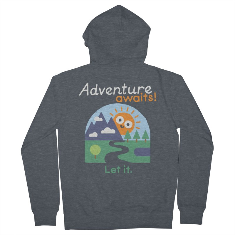 The Road Not Taken Men's French Terry Zip-Up Hoody by David Olenick