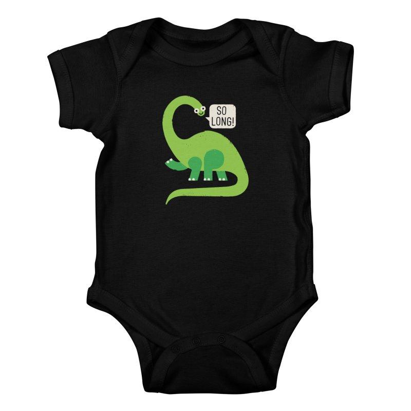 Au Revoirosaurus Kids Baby Bodysuit by David Olenick