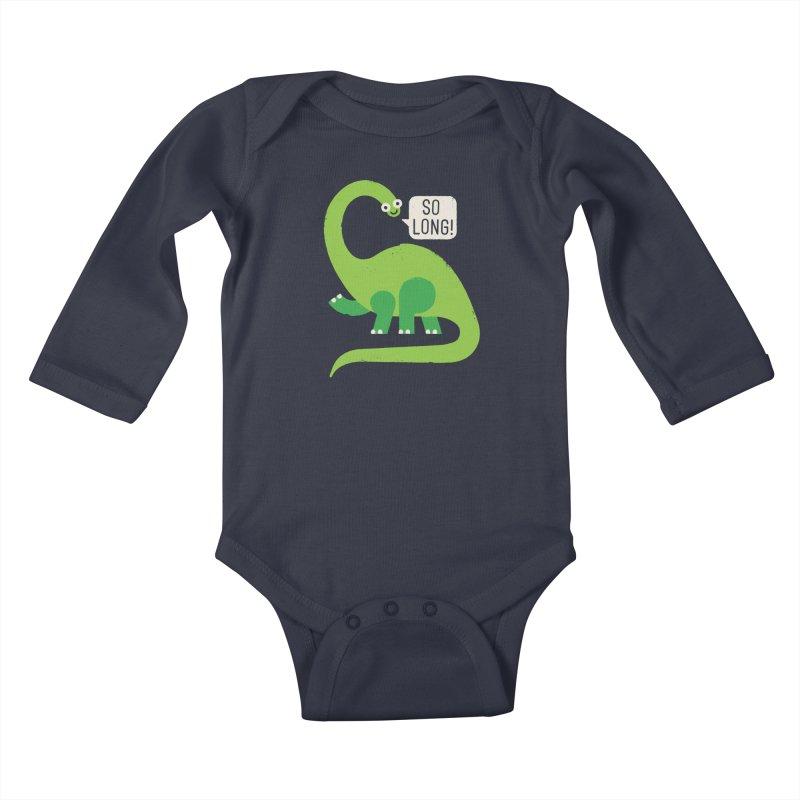 Au Revoirosaurus Kids Baby Longsleeve Bodysuit by David Olenick
