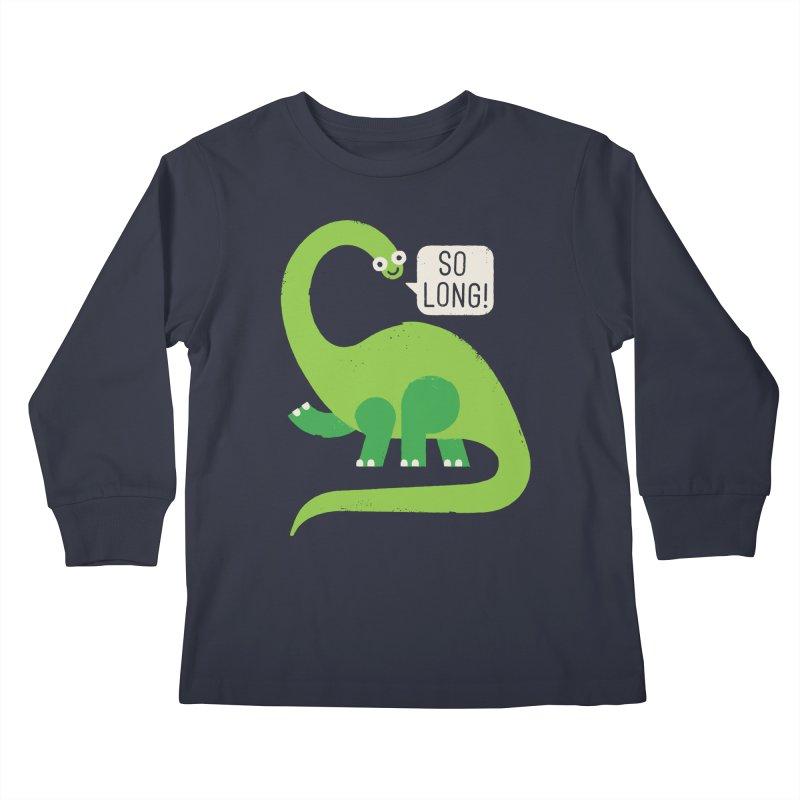 Au Revoirosaurus Kids Longsleeve T-Shirt by David Olenick
