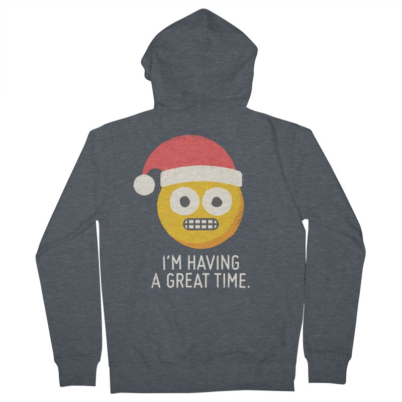 White Knuckle Christmas Men's French Terry Zip-Up Hoody by David Olenick