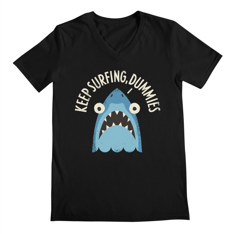 Great White Snark Men's V-Neck by David Olenick