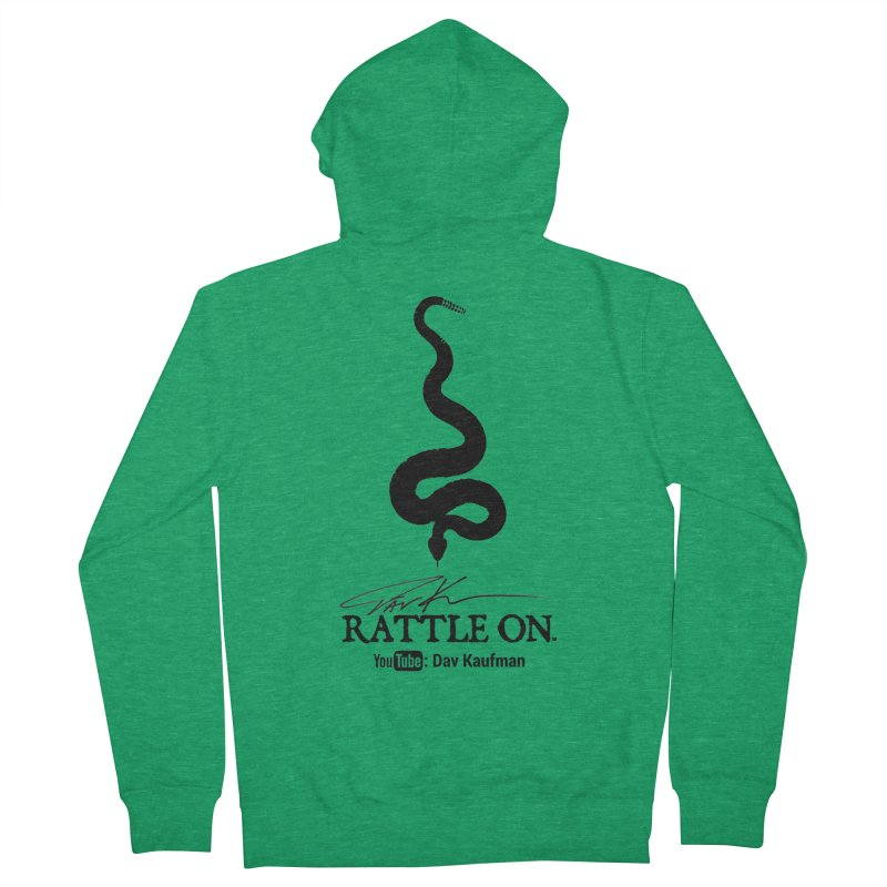 Black Rattle On Logo Men's Zip-Up Hoody by Dav Kaufman's Swag Shop!