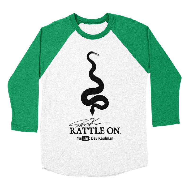 Black Rattle On Logo Men's Baseball Triblend T-Shirt by Dav Kaufman's Swag Shop!
