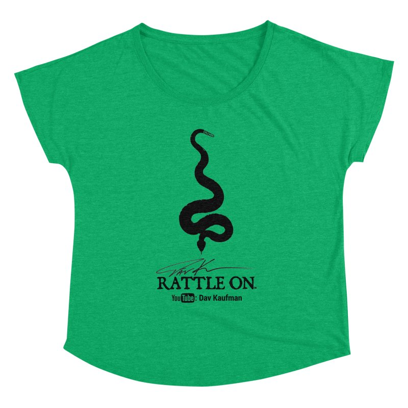 Black Rattle On Logo Women's Dolman Scoop Neck by Dav Kaufman's Swag Shop!