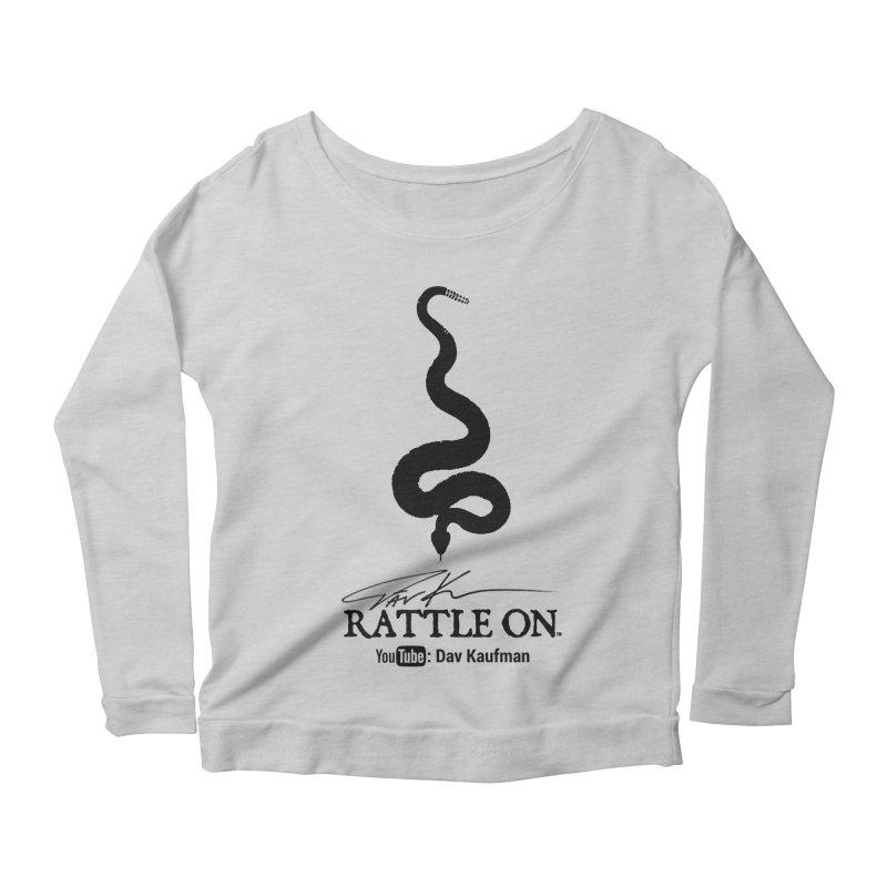 Black Rattle On Logo Women's Longsleeve Scoopneck  by Dav Kaufman's Swag Shop!