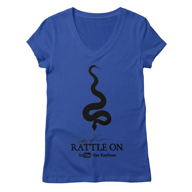Black Rattle On Logo Women's V-Neck by Dav Kaufman's Swag Shop!