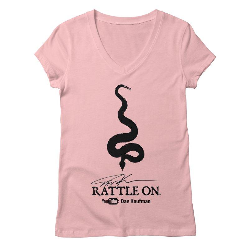 Black Rattle On Logo Women's V-Neck by Dav Kaufman's Swag Shop!