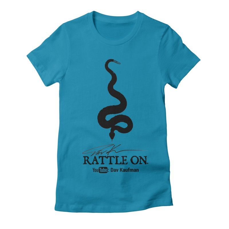 Black Rattle On Logo Women's Fitted T-Shirt by Dav Kaufman's Swag Shop!