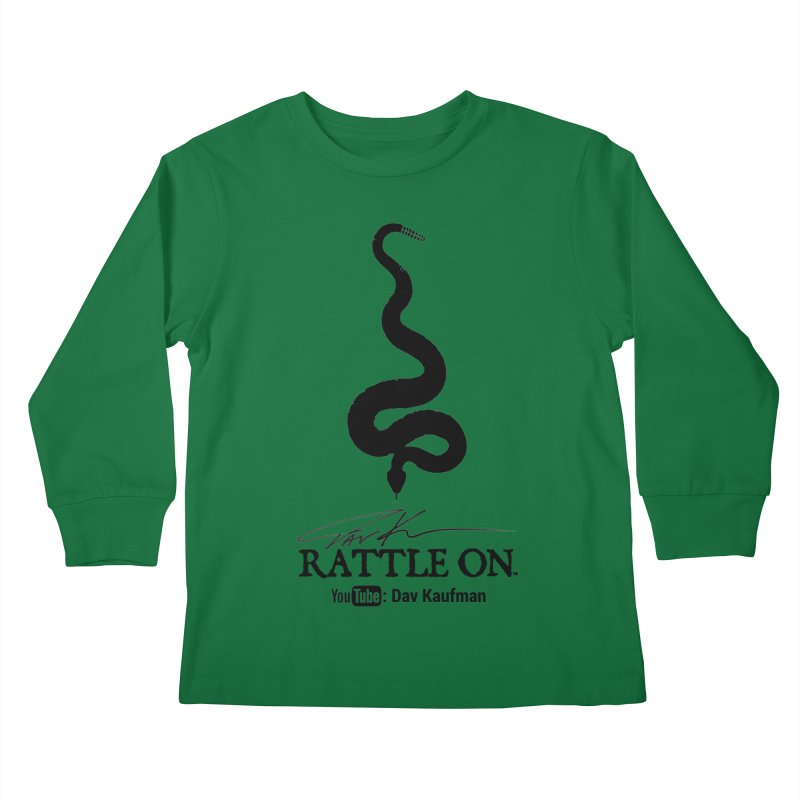 Black Rattle On Logo Kids Longsleeve T-Shirt by Dav Kaufman's Swag Shop!