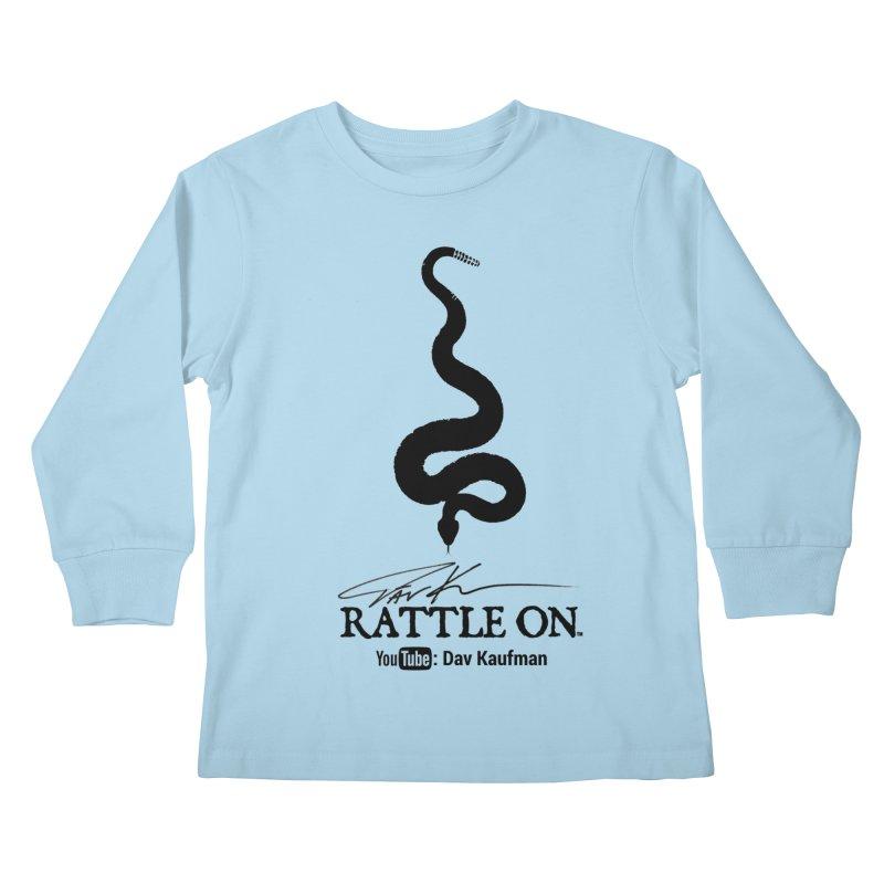 Black Rattle On Logo Kids Longsleeve T-Shirt by Dav Kaufman's Swag Shop!