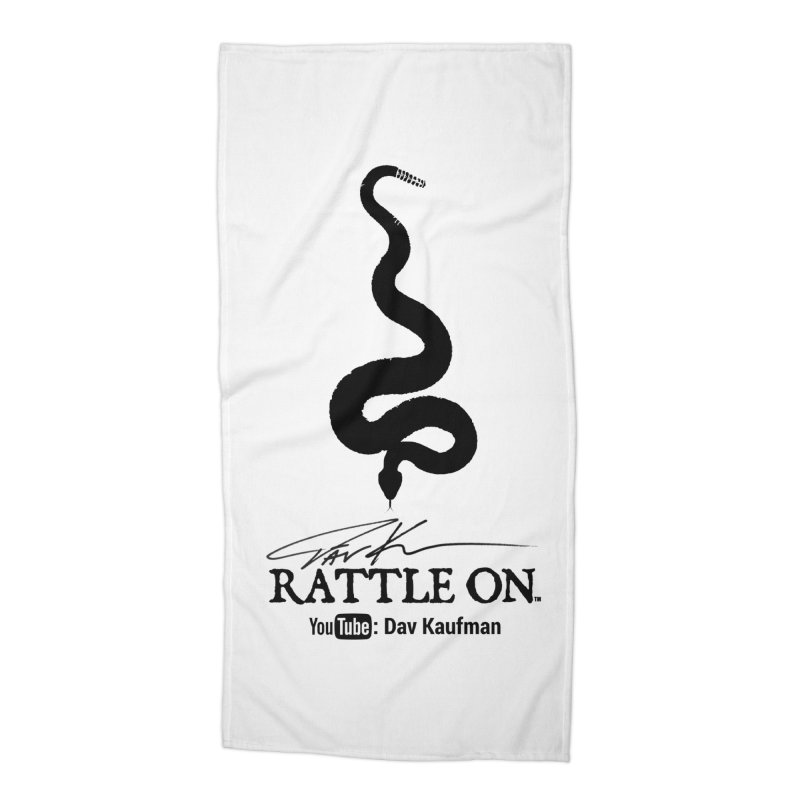 Black Rattle On Logo Accessories Beach Towel by Dav Kaufman's Swag Shop!