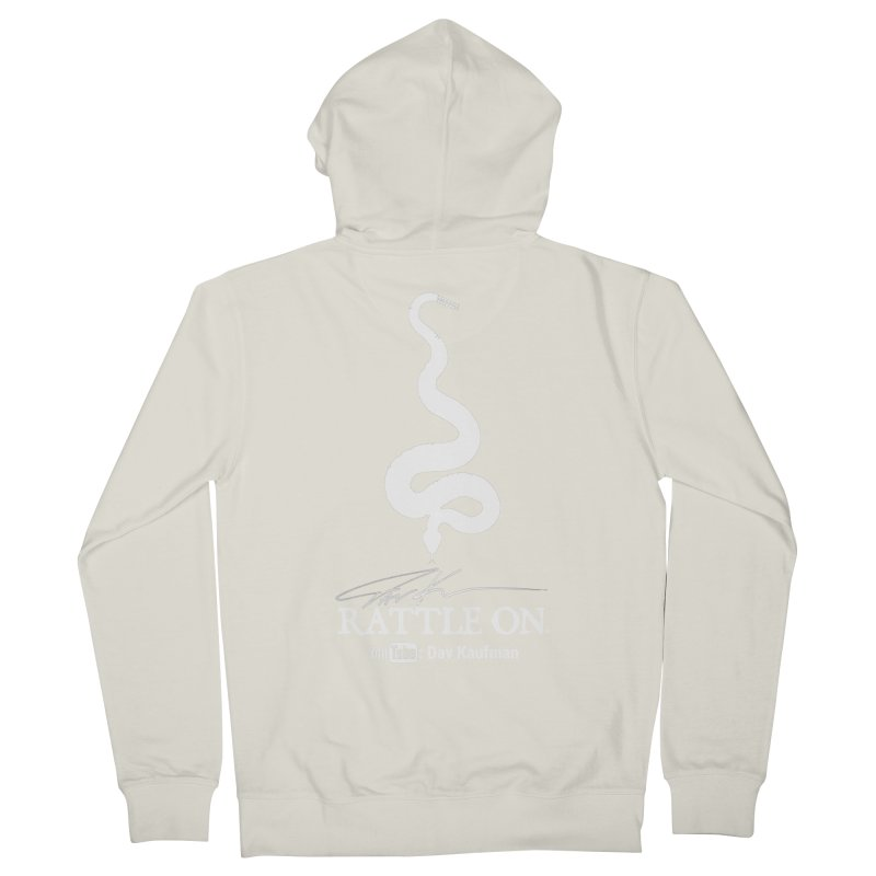 White Rattle On Logo Women's Zip-Up Hoody by Dav Kaufman's Swag Shop!