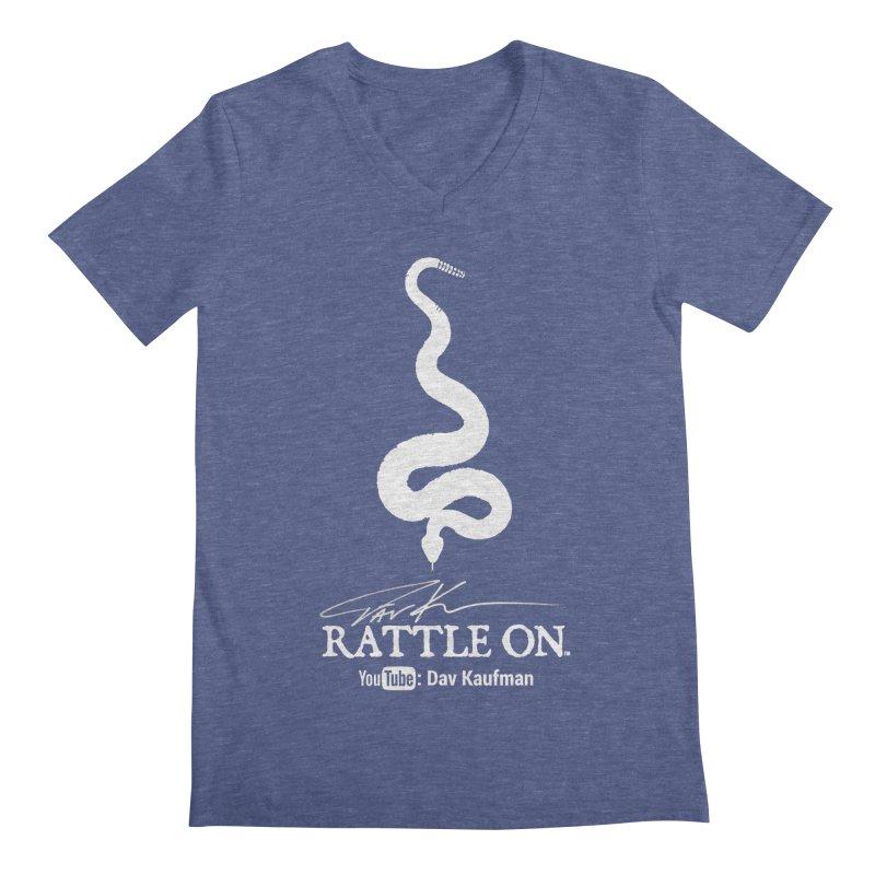 White Rattle On Logo Men's Regular V-Neck by Dav Kaufman's Swag Shop!