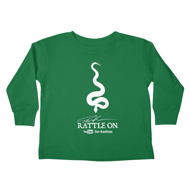 White Rattle On Logo Kids Toddler Longsleeve T-Shirt by Dav Kaufman's Swag Shop!