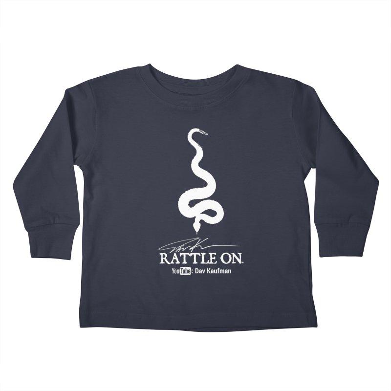 White Rattle On Logo Kids Toddler Longsleeve T-Shirt by Dav Kaufman's Swag Shop!
