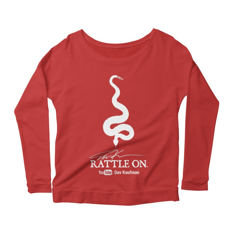 White Rattle On Logo Women's Longsleeve Scoopneck  by Dav Kaufman's Swag Shop!
