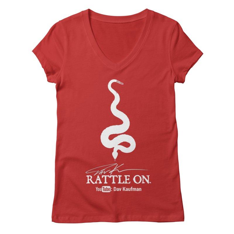 White Rattle On Logo Women's V-Neck by Dav Kaufman's Swag Shop!