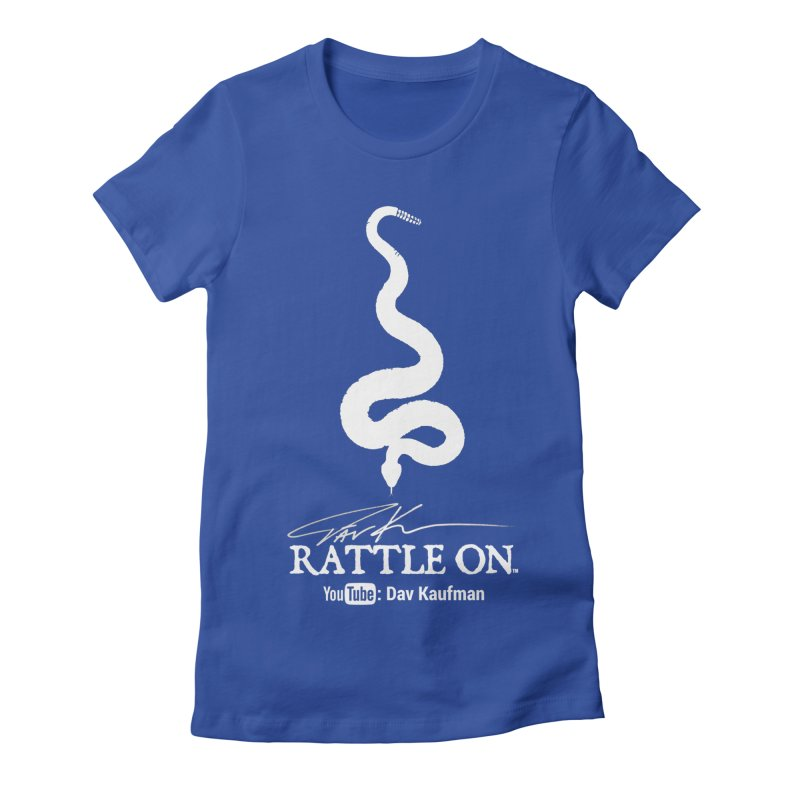 White Rattle On Logo Women's Fitted T-Shirt by Dav Kaufman's Swag Shop!
