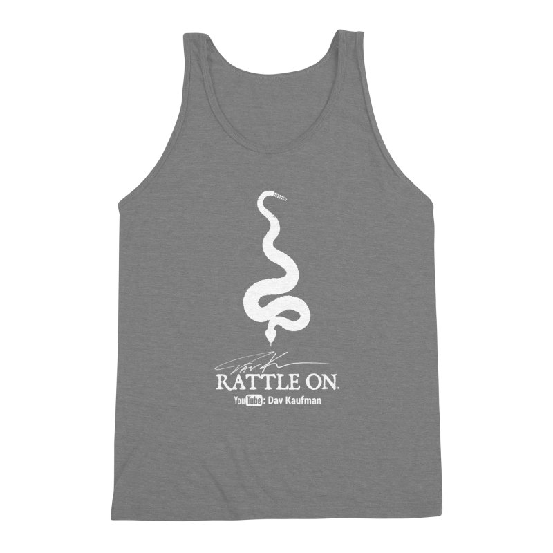 White Rattle On Logo Men's Triblend Tank by Dav Kaufman's Swag Shop!