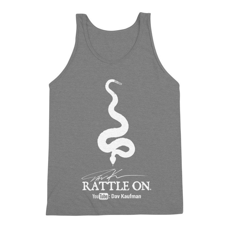 White Rattle On Logo Men's Triblend Tank by Dav Kaufman's Swag Shop!