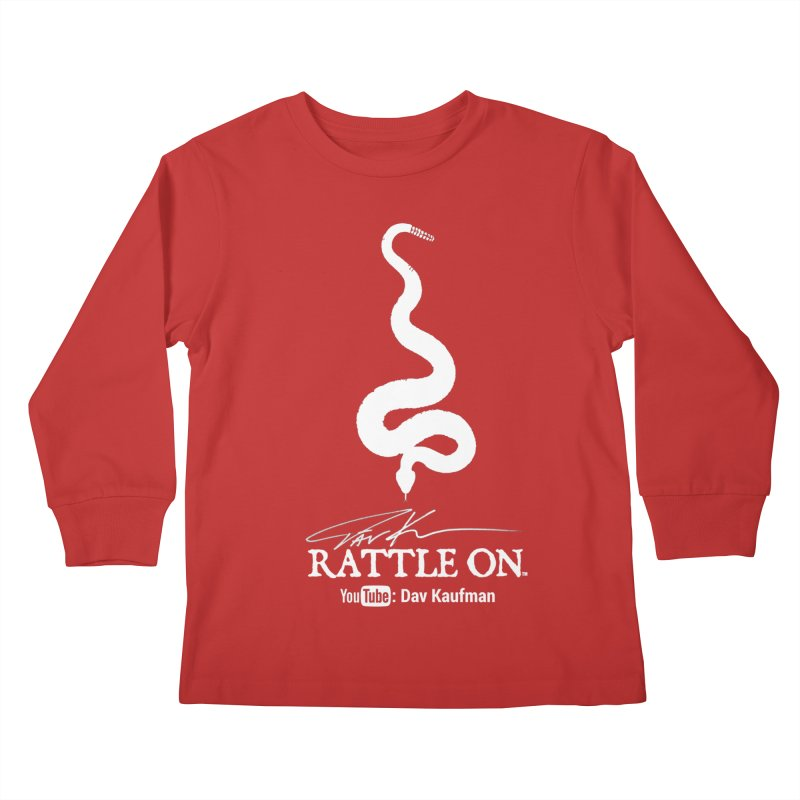 White Rattle On Logo Kids Longsleeve T-Shirt by Dav Kaufman's Swag Shop!