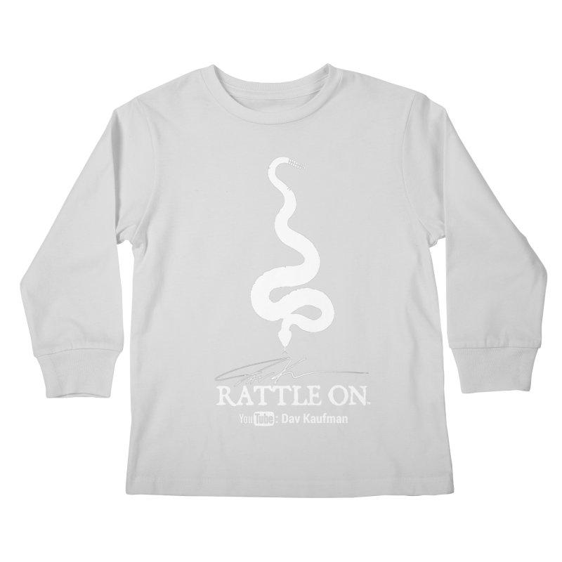 White Rattle On Logo Kids Longsleeve T-Shirt by Dav Kaufman's Swag Shop!