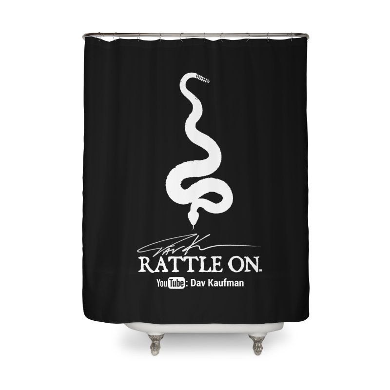 White Rattle On Logo Home Shower Curtain by Dav Kaufman's Swag Shop!