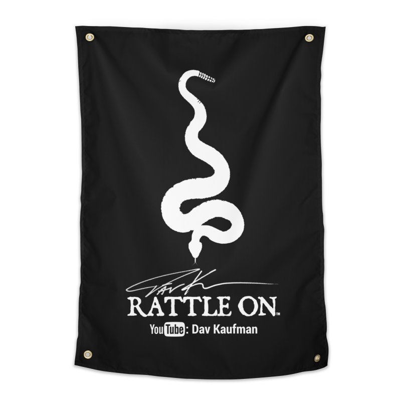 White Rattle On Logo Home Tapestry by Dav Kaufman's Swag Shop!