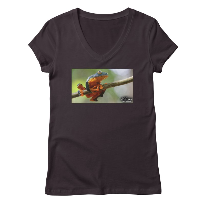 Amazon Leaf Frog Women's V-Neck by Dav Kaufman's Swag Shop!