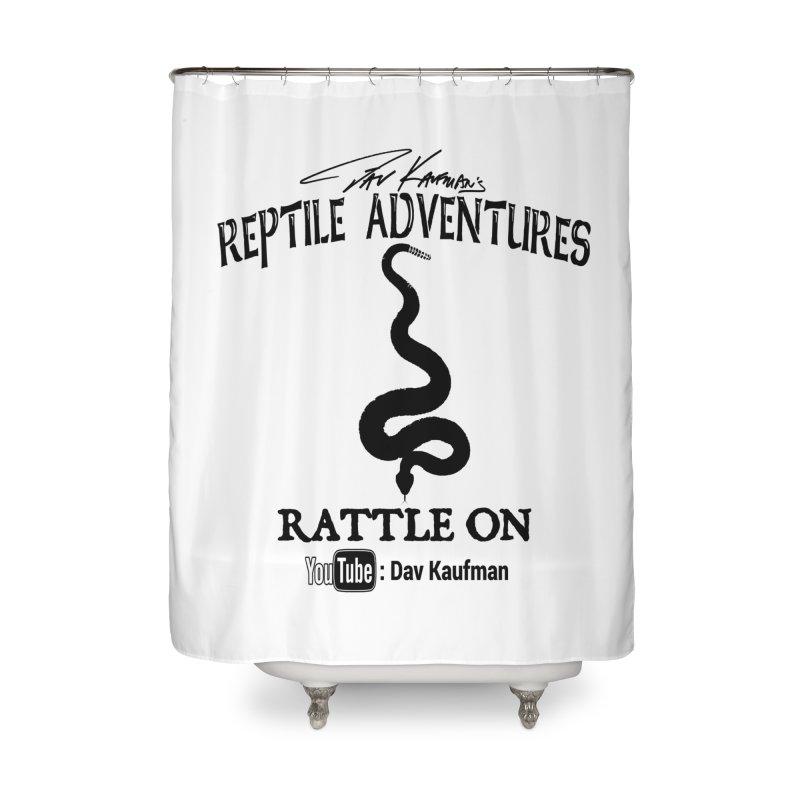 Dāv Kaufman's Reptile Adventures official logo in black Home Shower Curtain by Dav Kaufman's Swag Shop!