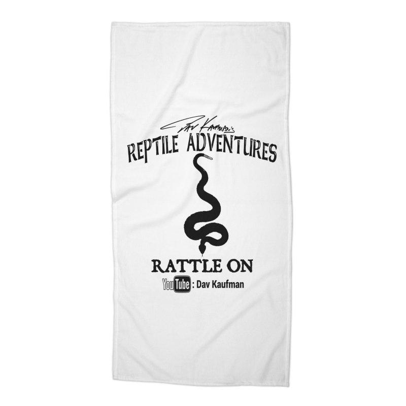 Dāv Kaufman's Reptile Adventures official logo in black Accessories Beach Towel by Dav Kaufman's Swag Shop!