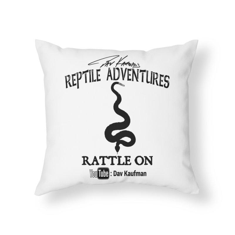 Dāv Kaufman's Reptile Adventures official logo in black Home Throw Pillow by Dav Kaufman's Swag Shop!