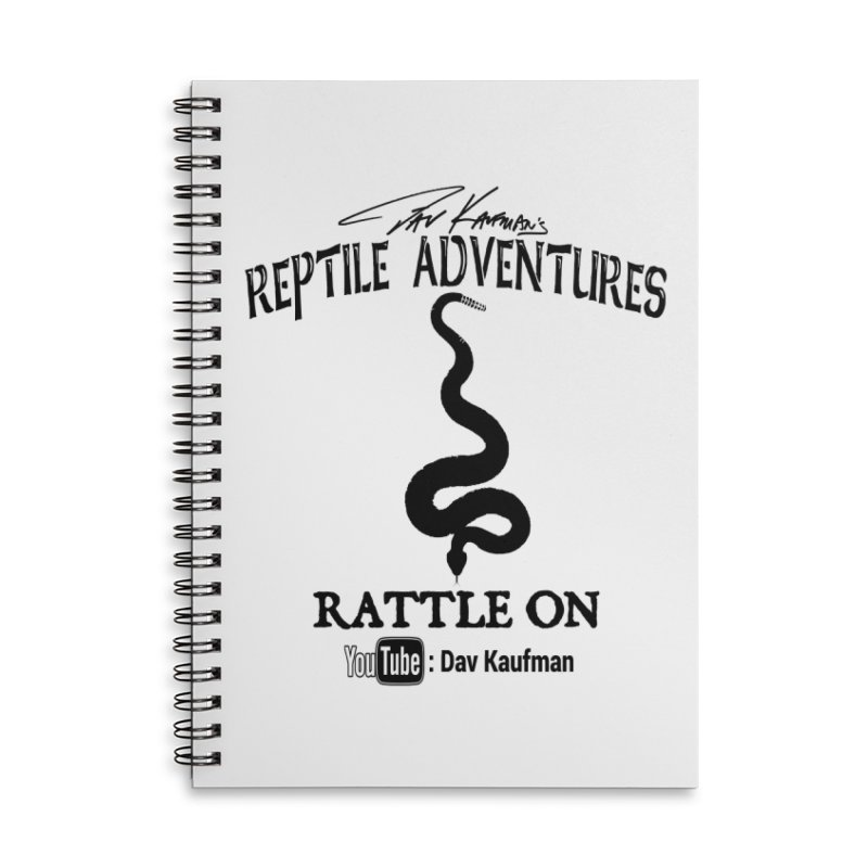 Dāv Kaufman's Reptile Adventures official logo in black Accessories Lined Spiral Notebook by Dav Kaufman's Swag Shop!