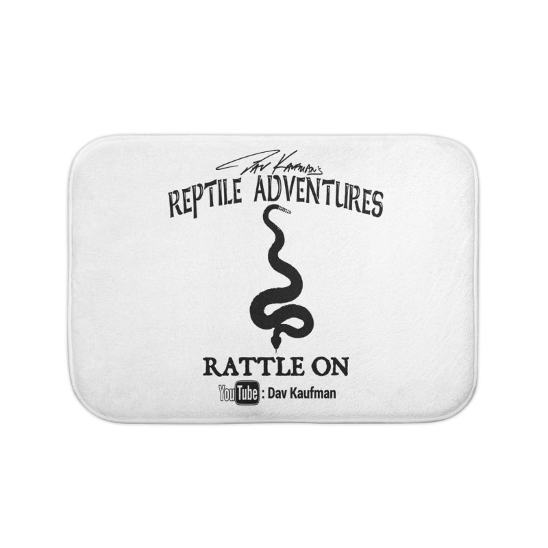 Dāv Kaufman's Reptile Adventures official logo in black Home Bath Mat by Dav Kaufman's Swag Shop!