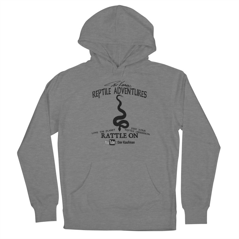 Dāv Kaufman's Reptile Adventures official logo (alt design) in black Men's French Terry Pullover Hoody by Dav Kaufman's Swag Shop!