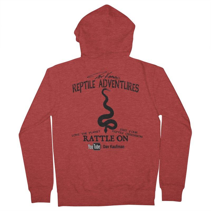 Dāv Kaufman's Reptile Adventures official logo (alt design) in black Men's Zip-Up Hoody by Dav Kaufman's Swag Shop!