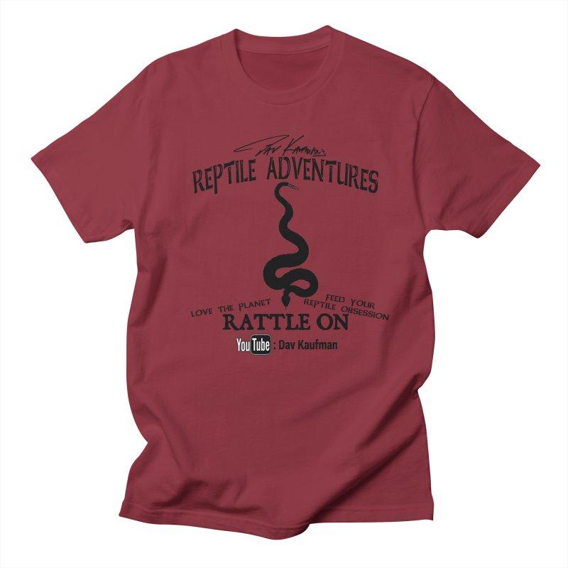Dāv Kaufman's Reptile Adventures official logo (alt design) in black Men's T-Shirt by Dav Kaufman's Swag Shop!
