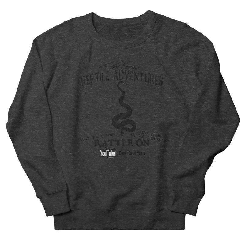 Dāv Kaufman's Reptile Adventures official logo (alt design) in black Men's French Terry Sweatshirt by Dav Kaufman's Swag Shop!