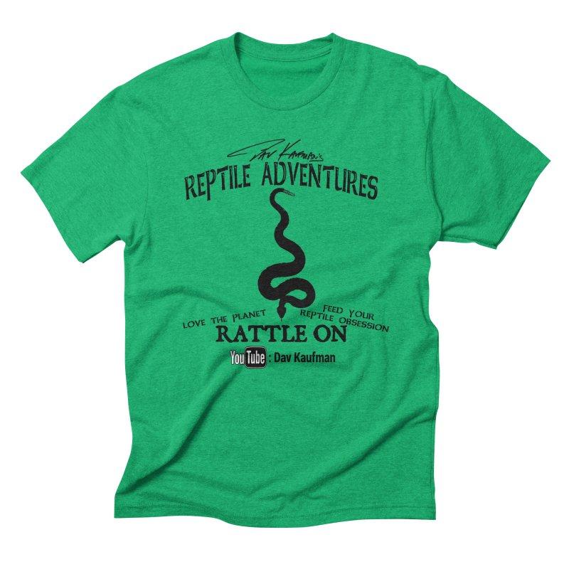 Dāv Kaufman's Reptile Adventures official logo (alt design) in black Men's Triblend T-Shirt by Dav Kaufman's Swag Shop!