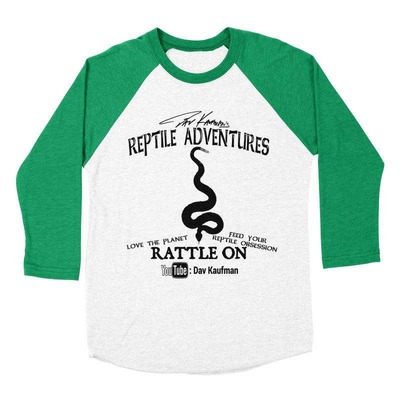 Dāv Kaufman's Reptile Adventures official logo (alt design) in black Women's Baseball Triblend Longsleeve T-Shirt by Dav Kaufman's Swag Shop!