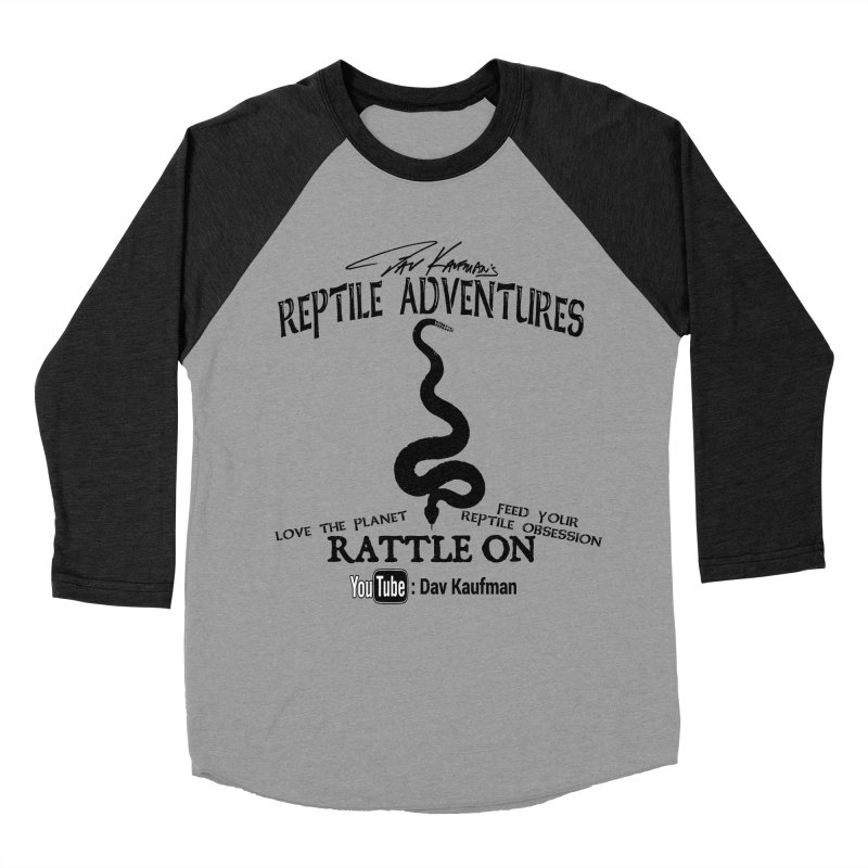 Dāv Kaufman's Reptile Adventures official logo (alt design) in black Men's Baseball Triblend Longsleeve T-Shirt by Dav Kaufman's Swag Shop!