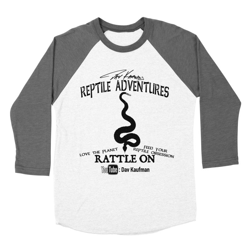 Dāv Kaufman's Reptile Adventures official logo (alt design) in black Men's Baseball Triblend T-Shirt by Dav Kaufman's Swag Shop!